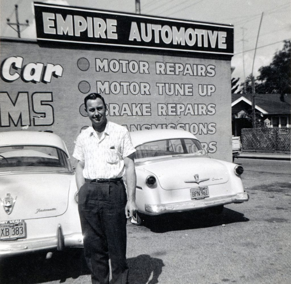 "Lewis ""Slick"" Dorsett, grandfather of Daniel Dorsett at Dorsett Speed Shop in Santa Rosa, CA."
