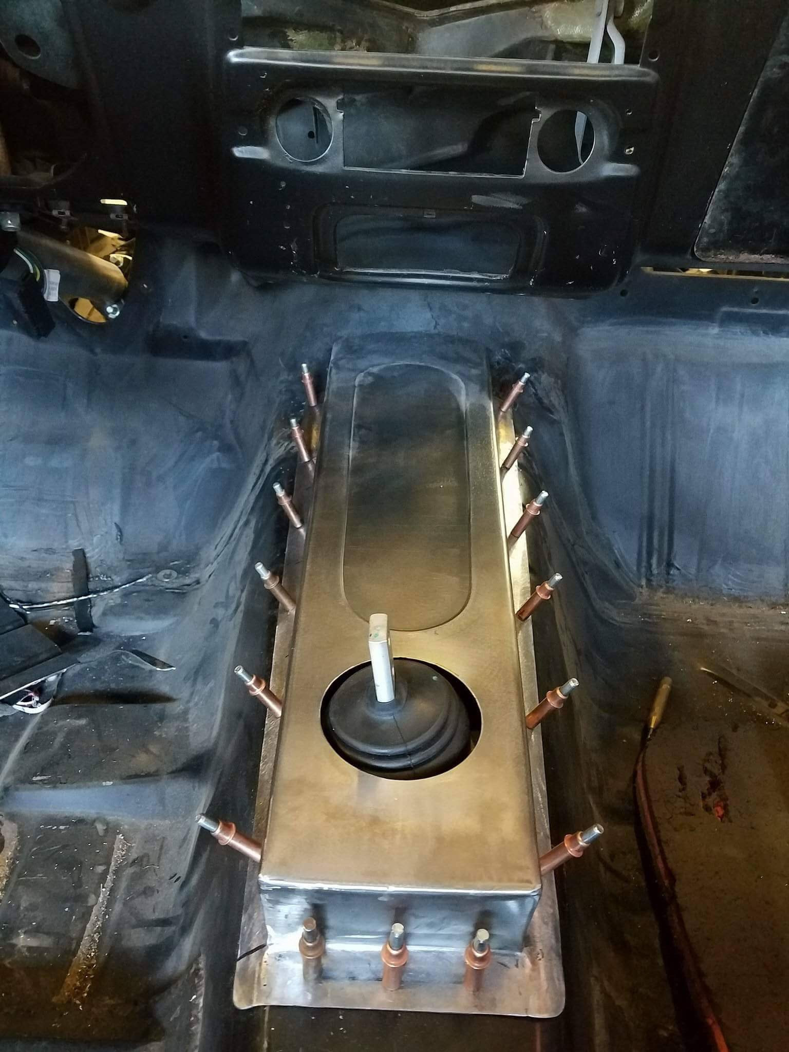 Custom shifter console by Dorsett Speed Shop.